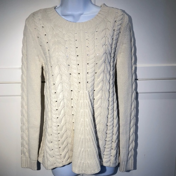 CAbi Sweaters - CAbi Ivory Lace Up cable knit sweater Size S 54243c423